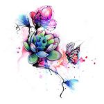 Watercolor Flowers and Butterfly Tattoo Drawing