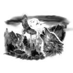 Wolf and Eagle Tattoo Designs